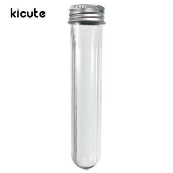 Kicute 1pc New Empty Plastic Transparent Sealing Tube Container Screw Lid Test Tube With Cap Aluminium 40ml Lab School Supplies