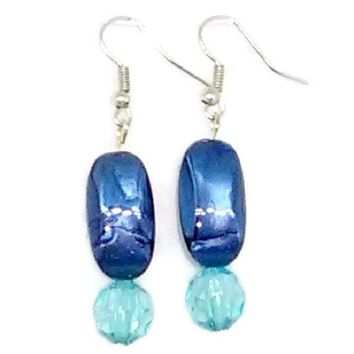 Blue Rectangle and Faceted Round Beaded Earrings