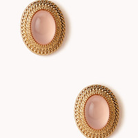 FOREVER 21 Retro Natural Stone Clip-On Earrings Gold/Peach One
