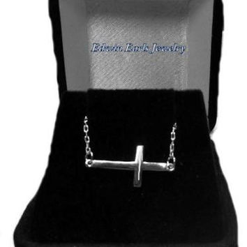 Celebrity Style Solid 925 Sterling Silver Sideways Cross Necklace