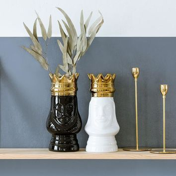 Cool King and Queen Tabletop Vase Gold Golden Crown Light Luxury Decorative Flower Pot Flower Arrangement Bottle Art Ceramic CraftAT_93_12