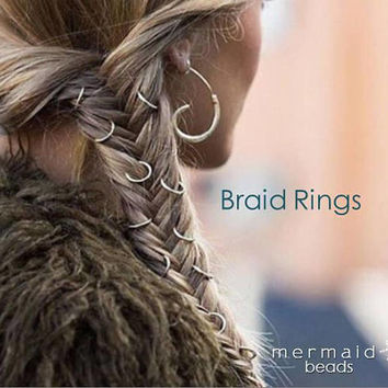 Braid Rings Clothing Gift Set Hair Hoops Beach Wedding Hair Boho Jewelry Clip Long Hair Mermaid Accessories Bridesmaids Hair Accessory Gift