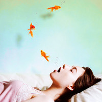 "Swimming Through Dreams - 8""x12"" Fine Art Photograph Print (girl dreaming fish underwater)"