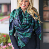 Blanket Scarf - Navy, Black and Green