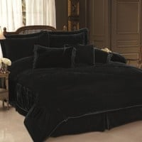 7 Piece Queen Black Velvet Comforter Set