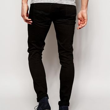 Nudie Jeans Super Skinny Lin Stretch Fit Black Black
