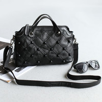Rivet One Shoulder Stylish Leather Bags Messenger Bags [4915809412]