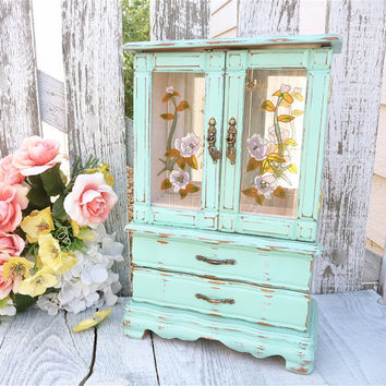 Genial Mint Green SHABBY CHIC Jewelry Box / Armoire By HuckleberryVntg