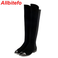ALLBITEFO Metal toe flat heel genuine leather brand over the knee women boots autumn winter warm platform pointed toe long boots