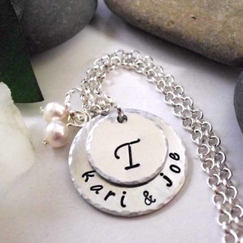 Wedding Necklace, Wedding Jewelry, Personalized Jewelry, Hand Stamped Jewelry, Anniversary Jewelry