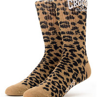 Crooks and Castles Cheater Girls Leopard Print Crew Socks
