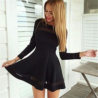Solid Women Dress Mesh Black Spring Dresses Fashion Casual Women Clothing Solid Simple Long Sleeve Mini Dress Vestidos