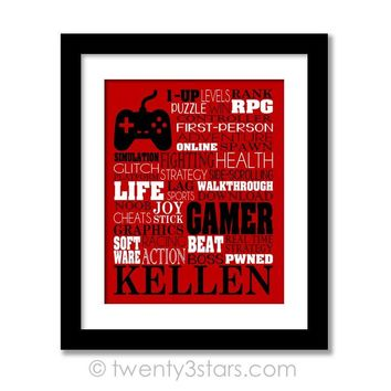 Video Gamer Gaming Typography Wall Art - Choose Any Colors - twenty3stars