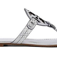 Tory Burch Metallic Sliver Snake Print Leather Miller Sandals (6.5)