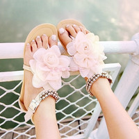 Women Elegant Flat Two Colors Leather Buckle Big Flower Leisure Sandals  5013 Women's shoes = 1745706308