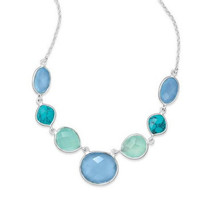 Turquoise, Chalcedony and Sterling Silver Necklace