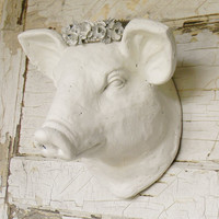 Faux Taxidermy,French Country Decor,Faux Animal Heads,Faux Pig Head,Pig Home Decor,Fench Nordic Decor,Kitchen Wall Decor, Farmhouse Decor