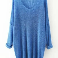 Blue V Neck Long Sleeve Knit Pleated Sweater