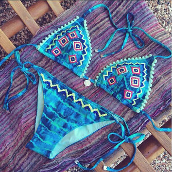 Gradient Embroidery Blue Sexy Bikini Set Swimsuit Beach Bathing Suits For Women