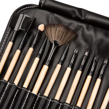 Professional Makeup Wood Brush Set Kit (32 pcs) + Bag Case