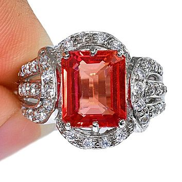 Special Edition, A Vintage 4.5CT Emerald Cut Pink Padparadscha Sapphire Ring