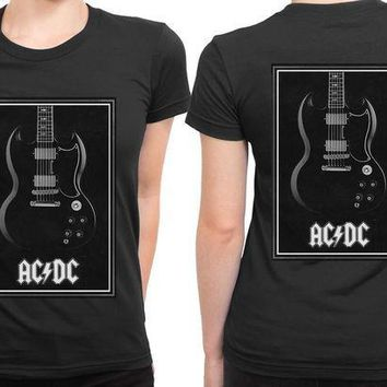 CREYH9S ACDC Guitar 2 Sided Womens T Shirt