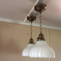 Antique Pair Vintage Pendant Lights Milk Glass Scalloped Shades 1920s Art Deco