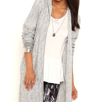 Long Sleeve Marled Knit Sweater Knit Duster with Hood