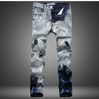 Men's Frayed Imprinted Fashion Jeans