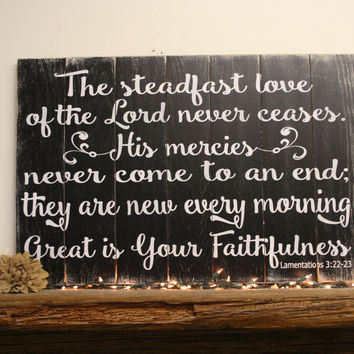 Great Is Thy Faithfulness Rustic Wood Sign, Christian Wall Art, Religious Wood Sign, Pallet Sign, Vintage Wood, Home Decor, Wall Decor