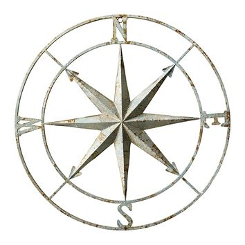 Distressed Aqua Metal Rose Compass Wall Decor -- 41-in