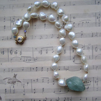 White Freshwater Pearl Necklace with Large Aquamarine Centerpiece