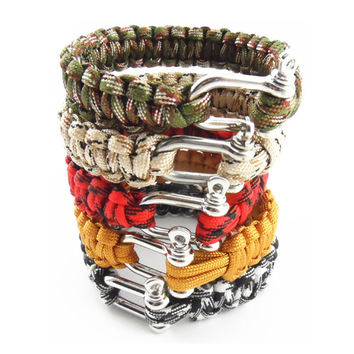 New 2016 Outdoor Survival Bracelet Men Self-rescue Shackle Pin Woven ParaCord Rope Emergency Kit