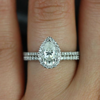 Tabitha 14kt White Gold Pear FB Moissanite and Diamonds Halo Classic Wedding Set (Other metals and stone options available)