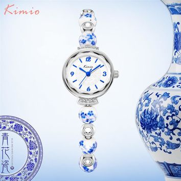 KIMIO Retro Really Chinese Ceramic Watch Blue And White Porcelain China Auspicious Pattern Bracelets Women Watches Luxury Brand