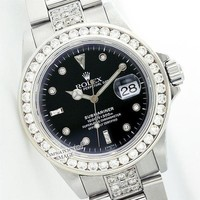 High Quality Rolex Fashion Casual Men's Submariner 5ct Diamond Stainless Steel 40mm - Pre-Owned G