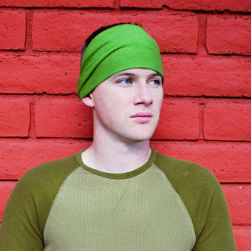 Mens Headband, Grass Green Headband, Men's Headbands, Running Headband (Item 1004) Large