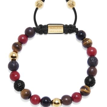 Men's Beaded Bracelet with Red Jade, Brown Tiger Eye, Lava Stone, Agate and Ebony