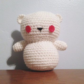 "OOAK Albino Bear ""Myra"" Amigurumi Plush - Crochet Teddy Bear - Unique Bear - Miniature Bear Toy - Baby Bear - Quirky - Stuffed Animal"