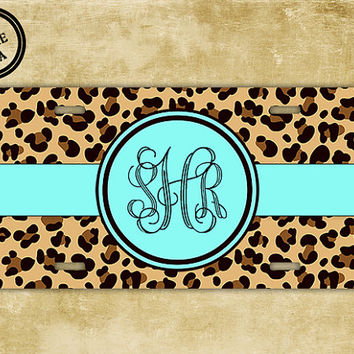 Personalized license plate - Cheetah animal print with Tiffany blue mint - monogrammed custom car tag (9959)