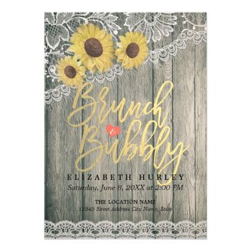 Wood Sunflowers Lace Brunch Bubbly Bridal Shower Card