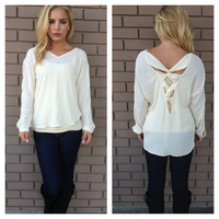 Ivory Long Sleeve Entangled Blouse