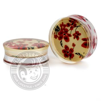 Red & White Floral Clear Acrylic Plugs