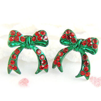 Christmas Ornament Bow Ribbon Earrings Jewelry Christmas Gift Idea Red Green