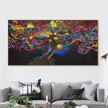 Canvas Wall Art: Trippy Psychedelic Tree Wall Art Print on Canvas