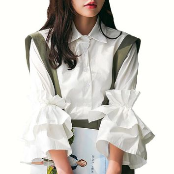Vintage Bell Sleeve Shirts Womens Fashion Tier Ruffles White Tops Clothing Ladies Retro Lapel Collar Flare Sleeve Blouse