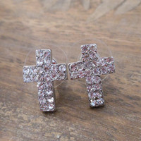 Cross Earrings  Silver Rhinestone Cross Earrings by LiveCoastal