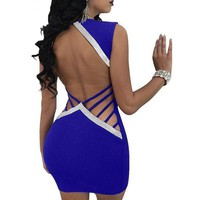 Women's Sexy Blue Crystal Backless V Neck Bodycon Party Dress