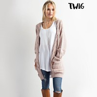 late at night knit cardigan - twig