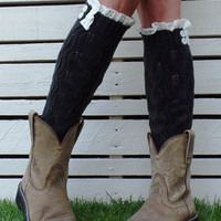 Black Button Crochet Trims Knitted Leg Warmers